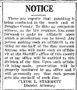 Newspaper clipping of a gambling notice by the District Attorney