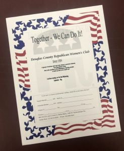 Membership form for the Douglas County Republican Women's Club.