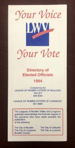 League of Women Voters Directory of Elected Officials, 1994 pamphlet.