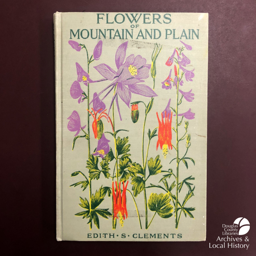 Image shows the cover of Flowers of Mountain and Plain, with floral illustrations. The book won the Archives Award for best cover illustration.
