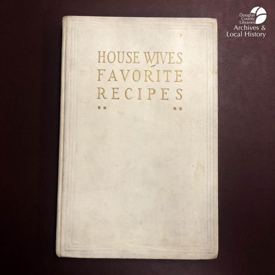 Images show a book cover titled Housewives Favorite Recipes and a page from the book with a recipe for Fish in Jelly and Ham Mousse.