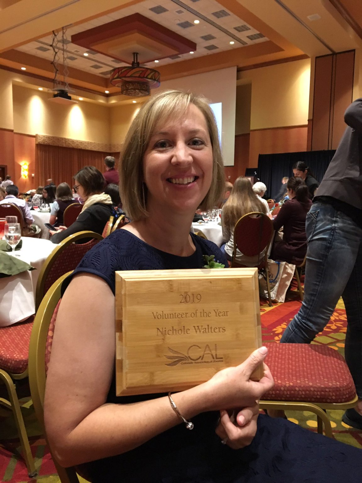 DCL volunteer Nichole Walters was honored as the Outstanding Library Volunteer during the annual awards luncheon at CALCON 2019.