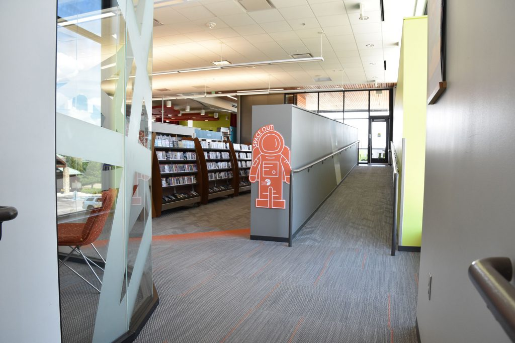 Modifications throughout the libraries encourage social distancing.